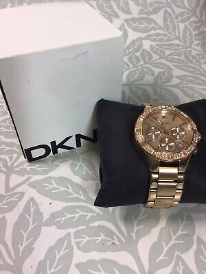 £10.99 • Buy DKNY Rose Gold Coloured Stainless Steel Watch With Diamante Details NY-8508