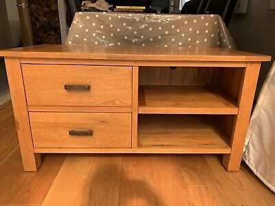 £45 • Buy Solid Oak Tv Unit Cabinet With Drawers(110cm)