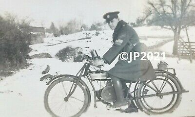 £4 • Buy WW1 Period Soldier On A Motorcycle. Original Antique Photograph