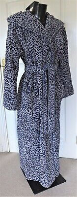 £4.99 • Buy Next Grey & Black Leopard Print Velour Dressing Gown Robe With Hood Size 8 / 10