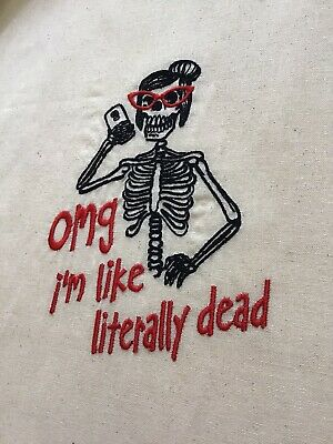 £4.99 • Buy **SALE** Skeleton Literally Dead Tote Bag Gift Folds Cotton Quirky Gothic