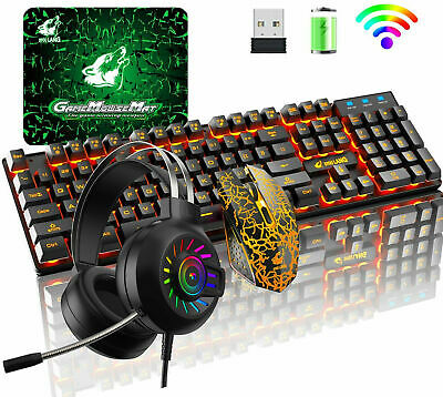AU73.90 • Buy Wireless Gaming Keyboard Mouse And 3.5mm Headset Set Rainbow Backlit For PC PS4