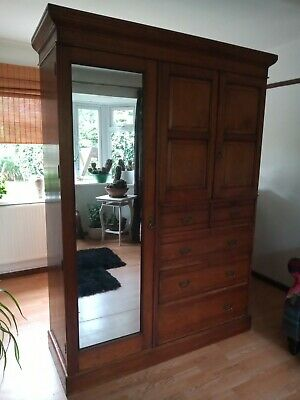 £150 • Buy Large Victorian Cupboard/wardrobe/linen Press With Mirror..shelves And Drawers..