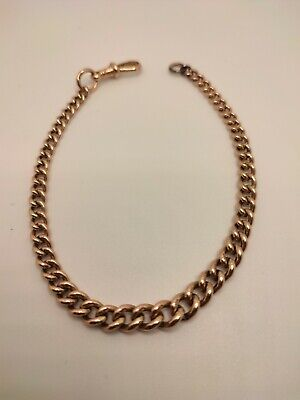 £430 • Buy 9ct Rose Gold Albert Chain Bracelet 17.12 Grams 9 Inches / 4mm-7mm Wide