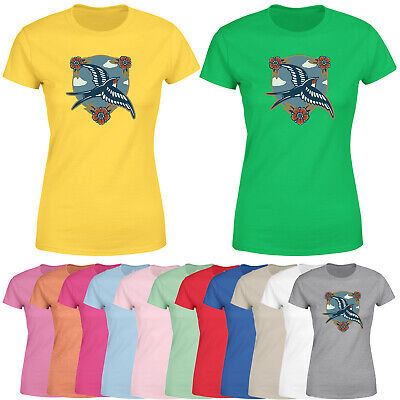£9.99 • Buy Swallows Bird Womens T Shirt Vintage Floral Secenry Graphic Tee Top