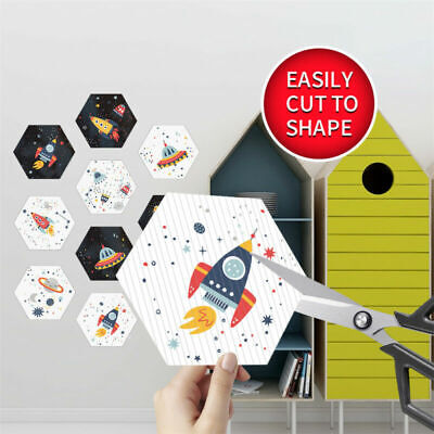 £10.09 • Buy Hexagon Funny Space Rocket Planet Floor Wall Tile Stickers For Boys Playroom New