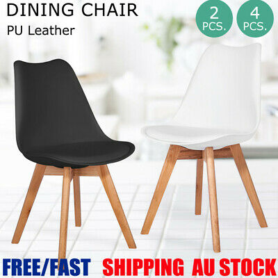 AU93.99 • Buy 2/4x Dining Chairs Kitchen Cafe Backrest Seat Home Office Living Room PU Black