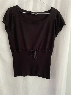 £4.99 • Buy H&M Size Large  Ribbon Belted Short Sleeved Top