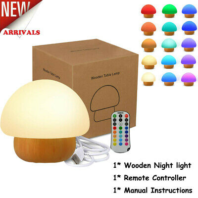 £10.89 • Buy 16 Colours Mushroom Lamp USB Night Light Kids Dimmable LED With Remote Control