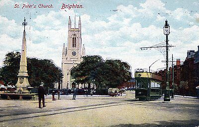 £3.99 • Buy Postcard Of St Peters Church BRIGHTON And Tram 1910 Cancelled With No Address