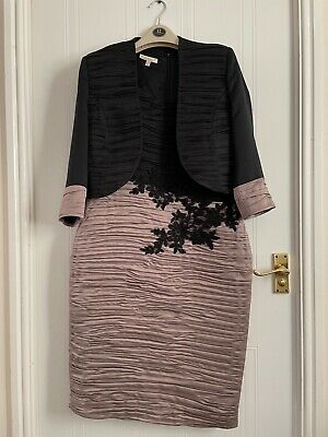 £40 • Buy Nass C Black And Beige Ruched Dress And Jacket, Size 12