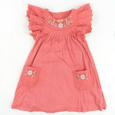 £2.99 • Buy Girls Fat Face Dress Embroidered Pink Coral With Pockets - Size 2-3 Years