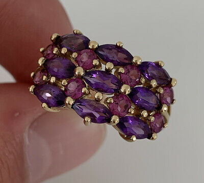£6.50 • Buy 9ct Gold Marquise & Round Cut Amethyst Large Heavy Cluster Ring, 9k 375