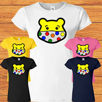 £9.49 • Buy Spotty Pudsey Bear Mask T Shirt Children In Need Dotty Spot Ladies Top Charity