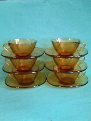 £15 • Buy 6xVintage Vereco French Square Amber Glass Coffee Cups And Saucers UK Sell Only