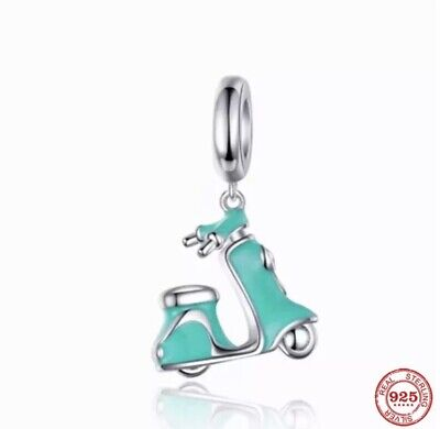 £10.99 • Buy Sterling Silver 925 Stamped Turquoise Scooter Charm With Velvet Bag Motorcycle