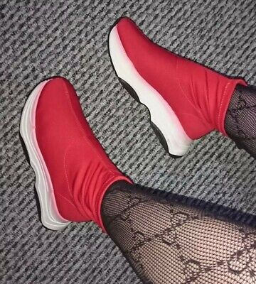 £38 • Buy New River Island Red White Chunky Platform Flatform Sock Sneakers UK 5 Sold Out