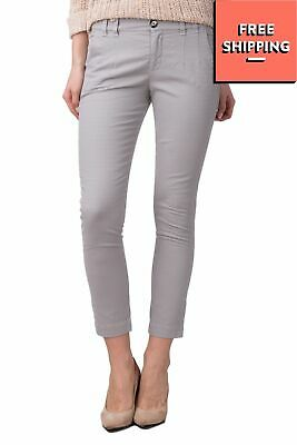£3 • Buy RRP€150 PINKO Trousers Size 38 / XS Stretch Grey Textured Pattern Cropped