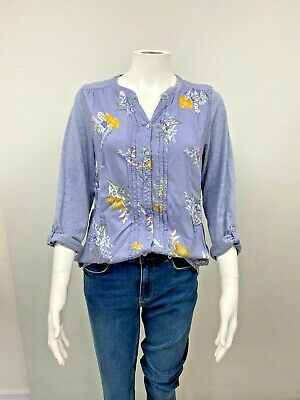 £6.99 • Buy Womens Bonmarche Lilac Blue Chambray Floral Button Up L/Sleeve Shirt - Size 14