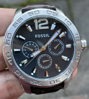 View Details Mens Fossil Bq-1161 Leather Strap Watch Fully Running Very Nice Order • 39.99£
