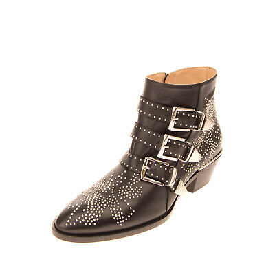 £49 • Buy RRP €830 CHLOE Leather Biker Boots EU 38 UK 5 US 8 Studded Straps Made In Italy