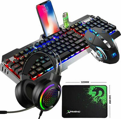 AU61.99 • Buy Gaming Keyboard And Mouse And Headset Set Rainbow Backlit For PC Laptop PS4 MAC