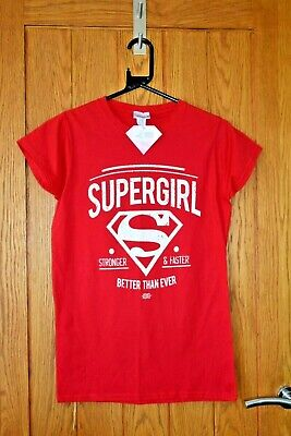 £4.99 • Buy Bright Red SUPERGIRL Tee / T-Shirt Girls / Kids Size L 34 Chest