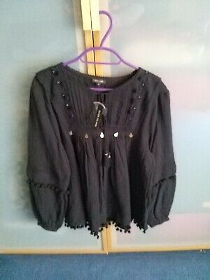 £12 • Buy Bnwt Size 10 Black Peasant Style Smock Top River Island