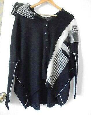£55 • Buy Crea Concept Oversize Pure Wool Cardigan Black & White With Stockings/sleeves