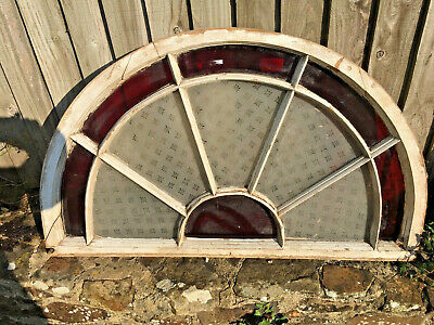 £62 • Buy ANTIQUE RECLAIMED STAINED GLASS SEMI CIRCLE WINDOW From Devon Country House