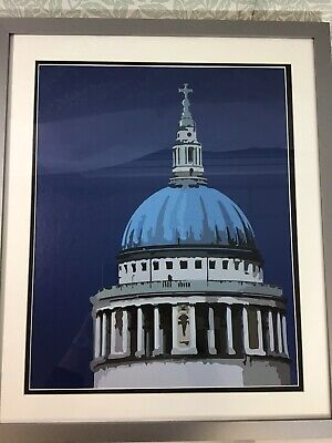 £9.99 • Buy Modern Art Giclée Print Of St Paul's Cathedral Dome London Framed Blue Tones