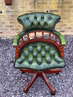 £465 • Buy Stunning Parliament Green Leather Chesterfield Captains Chair