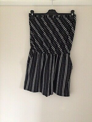 £0.99 • Buy George Small 8/10 Playsuit Bandeau Top Black/white Stripe Polyester