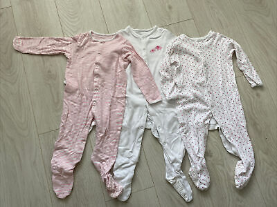 £3.95 • Buy John Lewis Baby Girl Sleepsuits Aged 9–12 Months - Pack Of 3