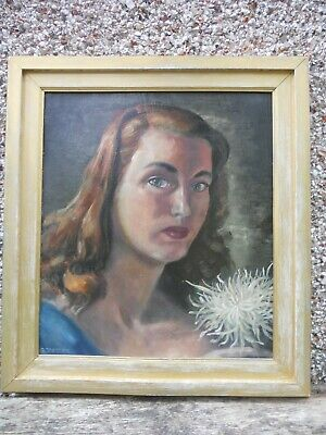 £49 • Buy 1940s Portrait Of A Lady Holding A Dahlia By G Petter