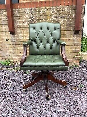 £350 • Buy Lovely Green Leather Chesterfield Gainsborough Captains Chair