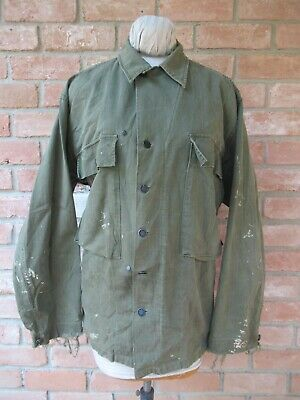 £7.27 • Buy Vintage WWII US Army Herringbone Utility Jacket Or Shirt; 13 Stars Buttons; 40R