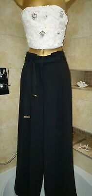 £30 • Buy River Island Paper Bag Trousers Black 10 Wide Palazzo Style Pants High Waisted
