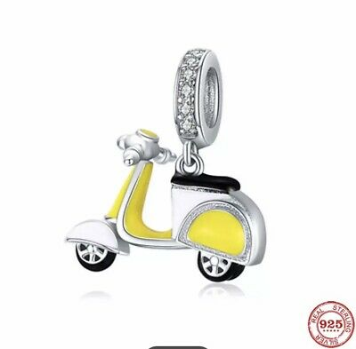 £10.99 • Buy Sterling Silver 925 Stamped Yellow Scooter Charm  With Velvet Bag Motorcycle:
