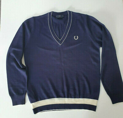 £36.50 • Buy Fred Perry - Navy Blue - V-neck Pullover - Made In Italy - Size 36' (Small)