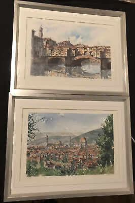 £5 • Buy Pair Florence Tuscany Italy Framed Prints City Duomo And Ponte Vecchio Scenes