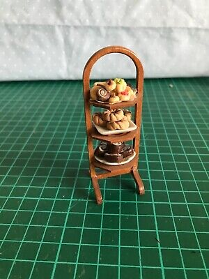 £16 • Buy Dolls House 1:12 Scale Beautiful Hand Made 3 Tier Wood Cake Stand + Cakes