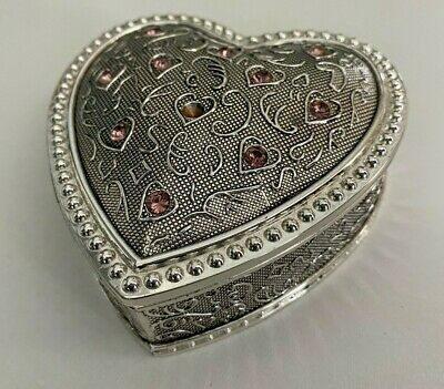 £9.99 • Buy Beautiful Trinket Box With Pink Crystals - Heart Shaped Jewellery Box
