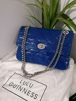 £139.99 • Buy Lulu Guiness Blue Patent Lips Shoulder Bag, With Dust Bag