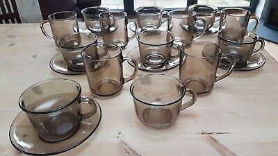 £18 • Buy Retro Arcoroc (France) Smoked Glass Teacups,Mugs And Saucers (20 Pieces)