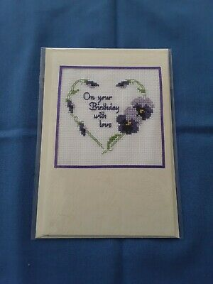 £1.80 • Buy Completed Cross Stitch Birthday Card, Cream Card And Envelope