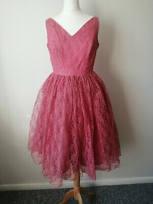£35 • Buy Original 1950s Vintage Tea Dress Pink Lace With 3 Layers Of Petticoat Size 8/ 10
