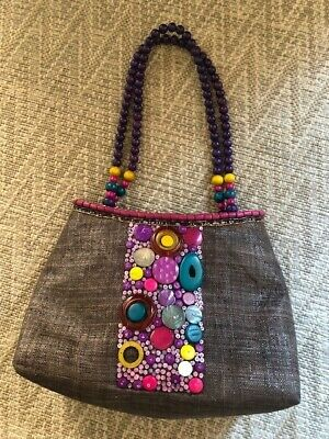 £1.99 • Buy Brown Raffia Bag With Multicoloured Buttons And Beaded Strap By East
