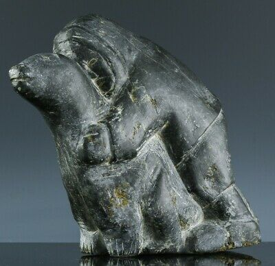 £37.29 • Buy Great Large 1973 Inuit Hand Carved Soapstone Man Attacking Bear ~ Adamie Inukpuk