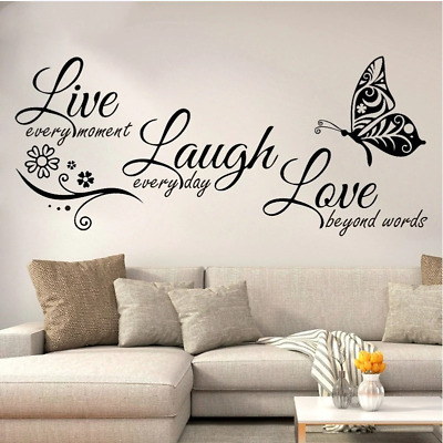 £1.65 • Buy Live Laugh Love Butterfly Flower Wall Art Sticker Modern Wall Decals Quotes Viny